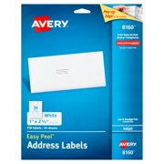 Avery 8160 Easy Peel White Inkjet Address Labels, 750 count