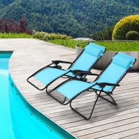 Mllieroo Folding Set of 2 Adjustable Zero Gravity Lounge Chair Recliners for Patio, Pool w/Cup Holders-Blue