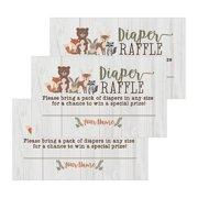 25 woodland animals diaper raffle ticket lottery insert cards for girl or boy baby shower invitations