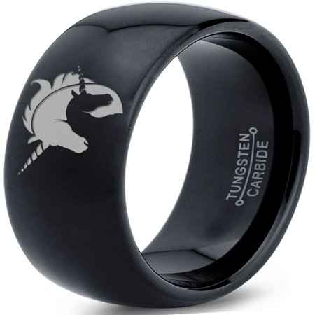 Tungsten Yin Yang Mythical Unicorns Band Ring 8mm Men Women Comfort Fit Black Dome Polished - Unicorn Ring