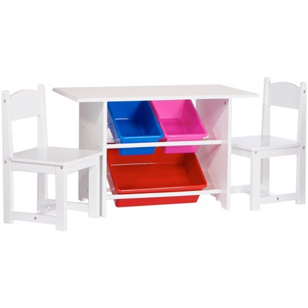 Riverridge Kids Play Table And Chair Set With Storage Bins Walmartcom