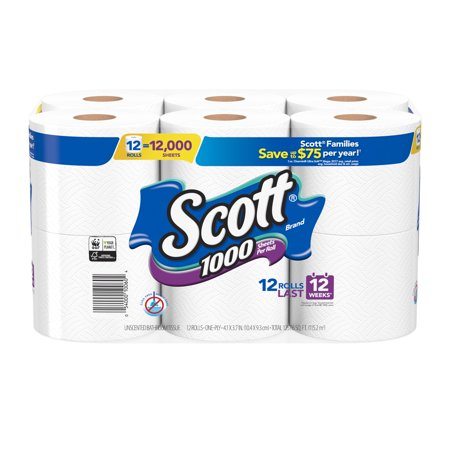 Scott 1000 Toilet Paper, 12 Rolls, 12,000 Sheets ()