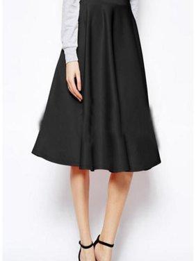 EFINNY Women Autumn A-Line Skirt High Waist All-match Casual Solid Loose Knee-Length Skirts