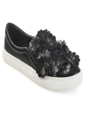 Women's Faux Leather Cascading 3D Flowers Slip-on Sneakers