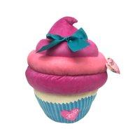 "JoJo Siwa Large 17"" Plush Pink/Blue Sparkle Cupcake Pillow with Bow"