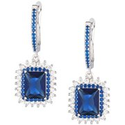 e715aeb3d Sterling Silver Jewelry, Clear Cubic Zirconia (CZ) and Sapphire Blue Swarovski  Crystal Rectangular