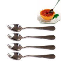 4 Grapefruit Long Spoon Thick Stainless Steel Serrated Edge Dessert Cirtus Fruit