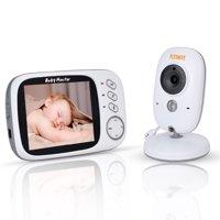 "Larger 3.2"" Wireless Video Baby Monitor w/ Digital Camera 2 Way Talkback Night Vision 8 Lullabies and Temp Monitor"