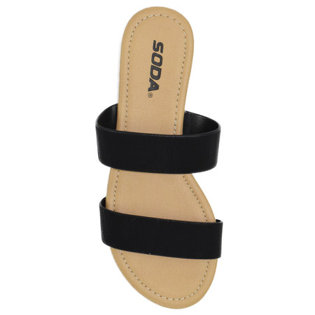 Browse Black Beach Slides Flat Basic Soda Shoes Women Flip Flops Double Straps Gladiator Sandals 5.5
