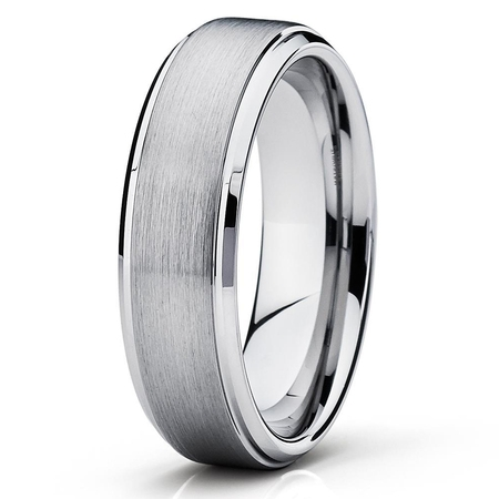 Engagement Ring 6mm Semi Setting - Tungsten Wedding Band Silver Tungsten Ring 6mm Tungsten Carbide Brush Polish Comfort Fit Men & Women Engagement Ring