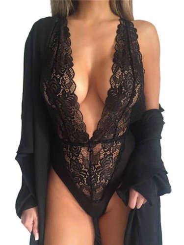 Womens Lace Deep V Neck Bodysuit See Through Lingerie Underwear -