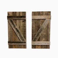BarnwoodUSA | Rustic Farmhouse Window Shutters (Set of 2) | Made 100% Reclaimed Recycled Wood | Rustic Interior Window Shutters | Traditional Country Style Home Decor | Made in USA