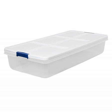 Hefty 52-Quart Latch Box, White Lid and Blue (H216rb Handles)