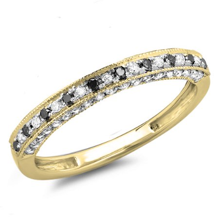 Dazzlingrock Collection 0.40 Carat (ctw) 10K Black & White Diamond Ladies Anniversary Wedding Band, Yellow Gold, Size 6.5