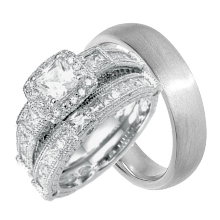 Him Ring Set - His and Hers Wedding Ring Set Cheap Wedding Bands for Him and Her(6/13)