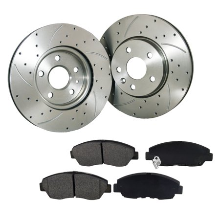 [2 Disc 4PADS]261.8mm Rear Drilled Slotted Rotor & Pads fit Mitsubishi - Mitsubishi Eclipse Drilled Slotted