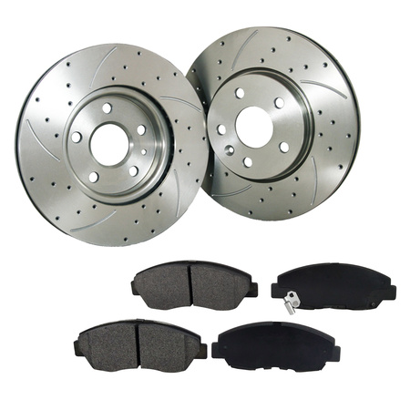 Front Drilled Slotted Brake Rotor & Pad Fit 2006-2011 Chevrolet HHR - Drilled Front Brake