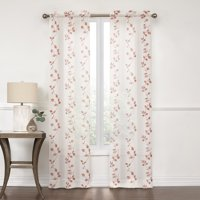 Better Homes and Gardens, Emory Embroidered Leaf Sheer Window Curtain Panel, Set of 2