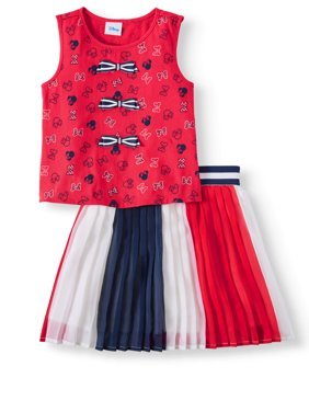 Girls' Minnie Mouse Bow Tank and Pleated Skirt, 2-Piece Outfit Set
