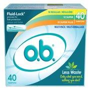 o.b. Applicator Free Multi-Pack Tampons (18 Regular, 12 Super, 10 Super Plus) - 40 Count