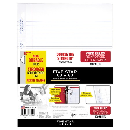 Five Star Reinforced Filler Paper, Wide Ruled, 100 Sheets/Pack (Champion Paper)