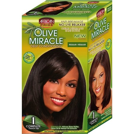 African Pride Olive Miracle Deep Conditioning No-Lye Relaxer - Regular Kit 1 ea (African Pride Relaxer Kit)