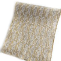 """Natural Burlap with Full Lace, 12"""" x 8'"""