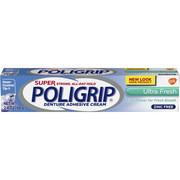 Super Poligrip Ultra Fresh Mint Flavor Zinc Free Denture Adhesive Cream, 2.4 ounce