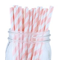 Just Artifacts Decorative Striped Paper Straws (100pcs, Striped, Light Pink)