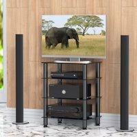 Fitueyes Av shelf Media Component TV Stand Audio Cabinet with Glass Shelf 4-tier F1AS406001GB
