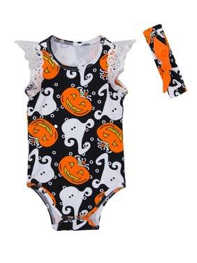 StylesILove Newborn Baby Girl Halloween Pumpkin Print Cap Sleeve Cotton Bodysuit with Headband 2 Pcs Outfit Set (80/12-18 Months, Black)