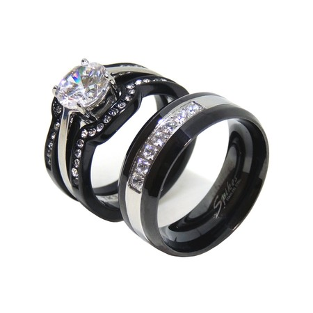 His Hers Couples Ring Set Womens Round CZ Promise Two Tone Ring Mens 7 CZs Wedding Band- Size