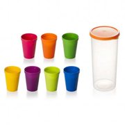 ba245f66b3e KABOER 7 Pack Travel Portable Rainbow Cup Colorful Plastic Cup Outdoor  Picnic Drink Cup Kids Juice