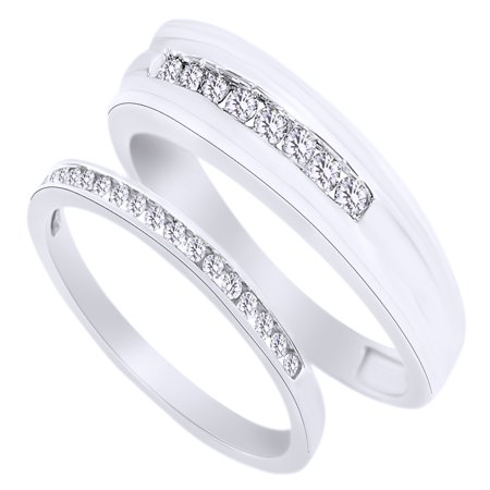 Round Cut White Natural Diamond His and Hers Wedding Band Set in 14K White Gold (0.38 Cttw) By Jewel Zone