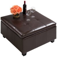 Best Choice Products PU Leather Square Shape Storage Ottoman Foot Rest Stool Decor Furniture w/ Large Sturdy Frame, Gas Shock Hinges - Espresso