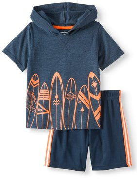 Graphic French Terry Hoodie & Mesh Athletic Shorts, 2pc Outfit Set (Toddler Boys)