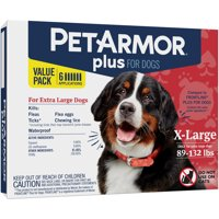 PetArmor Plus Flea & Tick Prevention for Dogs (89-132 lbs), 6 Treatments