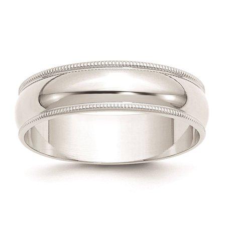 Yellow Gold Light Milgrain Band (10k White Gold 6mm Lightweight Milgrain Half Round Wedding Band Ring Size 11.5 )