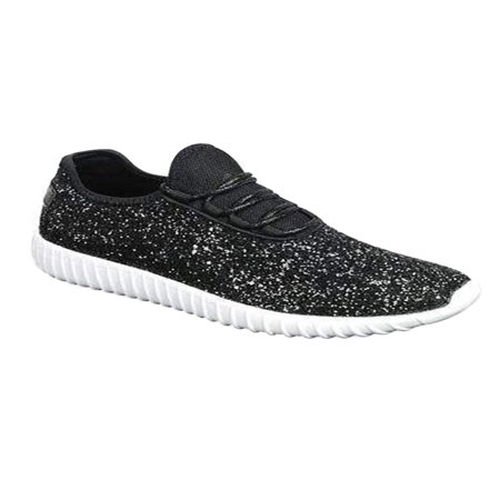 - Womens Fashion Casual Glitter Spakling Sneakers Bomb Shoes Remi-18-7-Black