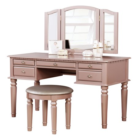 BOBKONA St. Croix Collection Vanity Set with Stool, Rose Gold