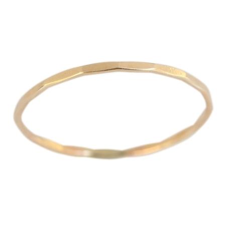 14k Eternity Toe Ring - 14k Gold Filled 1mm Thin Faceted Plain Band Midi Toe Ring