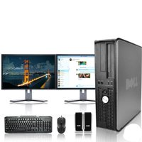 "Dell Optiplex Desktop Computer 3.0 GHz Core 2 Duo Tower PC, 4GB RAM, 250 GB HDD, Windows 10, ATI , Dual 19"" Monitor (Brands Vary), USB Mouse & Keyboard"