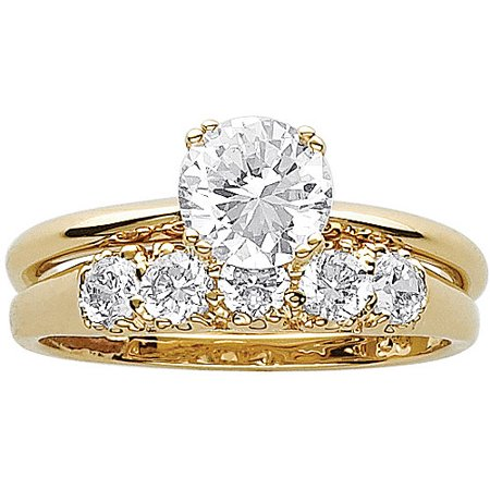 - 3.3 Carat T.G.W. CZ 14kt Gold-Plated Wedding Ring Set