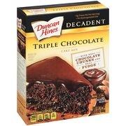 Duncan Hines Decadent Triple Chocolate Cake Mix, 21 oz Box