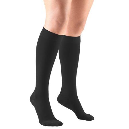 Gloss Stockings - Knee High Stockings, Closed Toe: 20 - 30 mmHg, Black, Medium