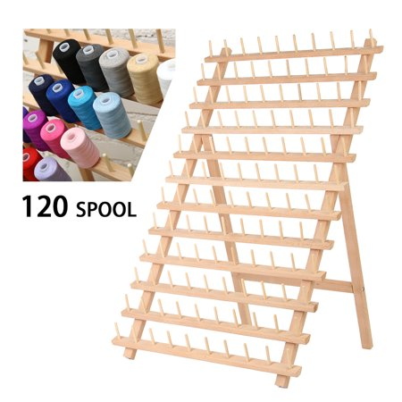 - 120 Spool Foldable Thread Rack Wood Thread Holder Thread Wooden Storage Rack Thread Spool Stand Sewing Cone Storage Organiser Quilting Embroidery Bobbin Orgainzer&Rack Sewing Craft