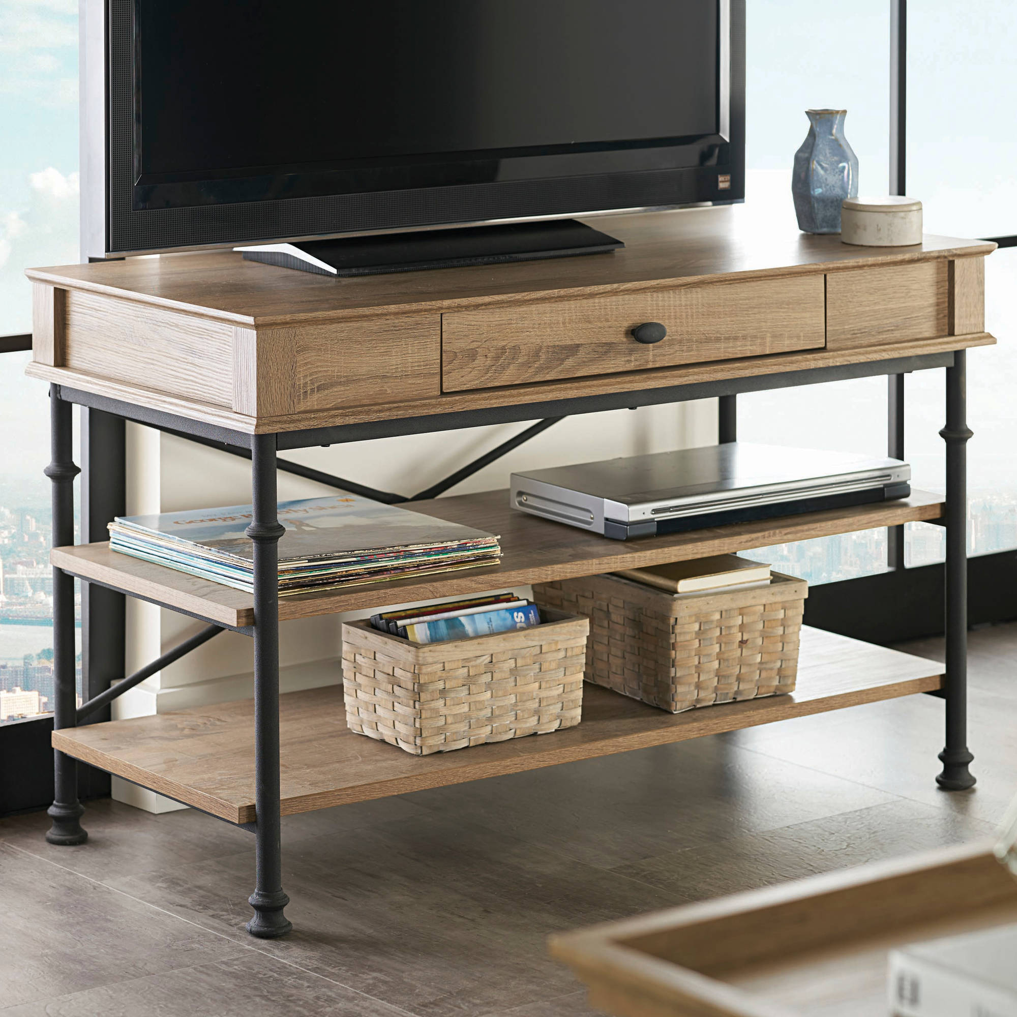 Sarah Tv Stands Better Homes And Gardens River Crest Tv Stand For Tvs Up To 42 39 39 Rustic Oak Finish