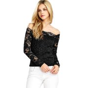 376c35a4933 Ambiance Apparel Women s Juniors Crop Long Sleeve Lace Top (S
