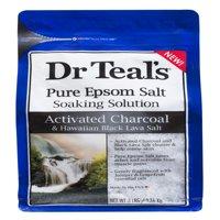 Dr Teal's Pure Epsom Salt Soaking Solution, Activated Charcoal & Hawaiian Black Lava Salt, 3 lb