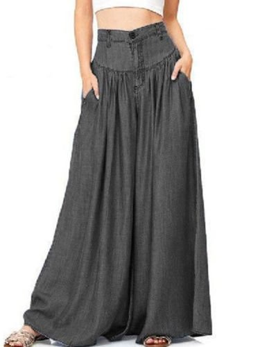 Womens Palazzo Wide Legs Long Pants Yoga High Waist Loose Gypsy Boho -